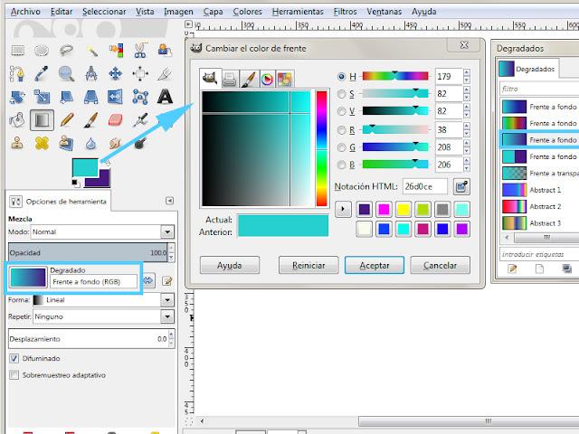 color degradado gimp herramienta