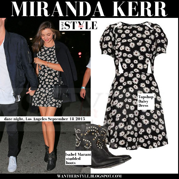 Miranda Kerr in black daisy print Topshop mini dress with Isabel Marant Caleen studded ankle boots streetstyle models off duty 2015