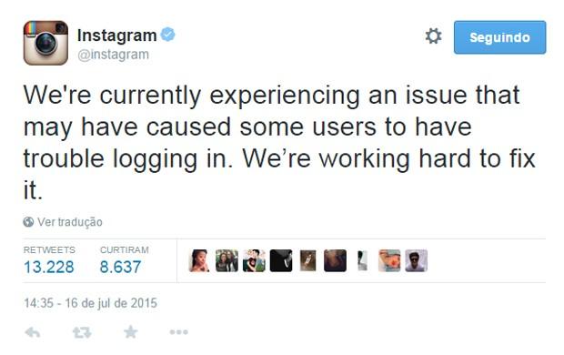 Instagram registra instabilidade no acesso ao aplicativo