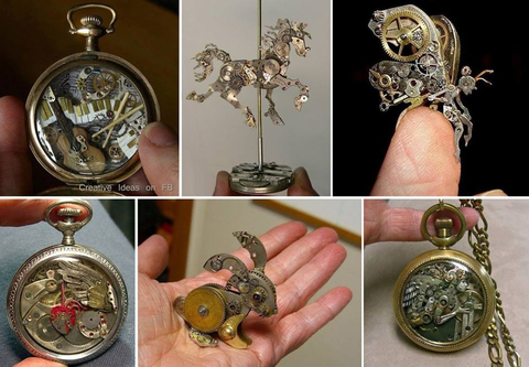 Steampunk Watch Part Sculptures by Sue Beatrice