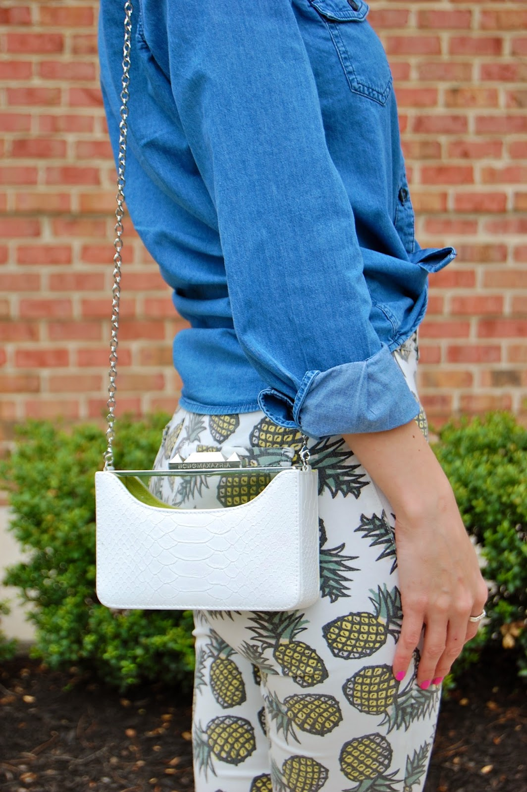 Wearing tied chambray shirt, Topshop pineapple pants, Bcbg Paris yellow jaze heels, lucite clutch, pineapple trend