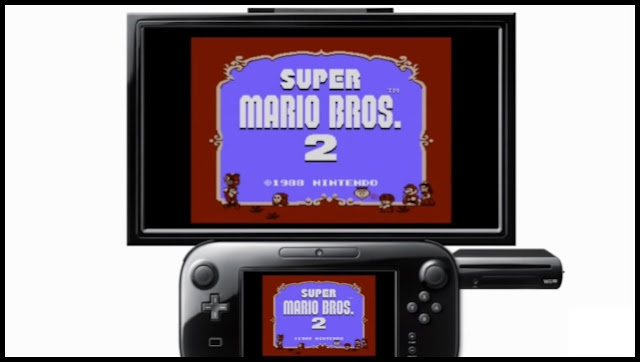 Title screen of NES version of Super Mario Bros. 2 displayed on TV and Wii U GamePad