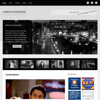 Lamponis Magazine blogger template. free blogspot template magazine style