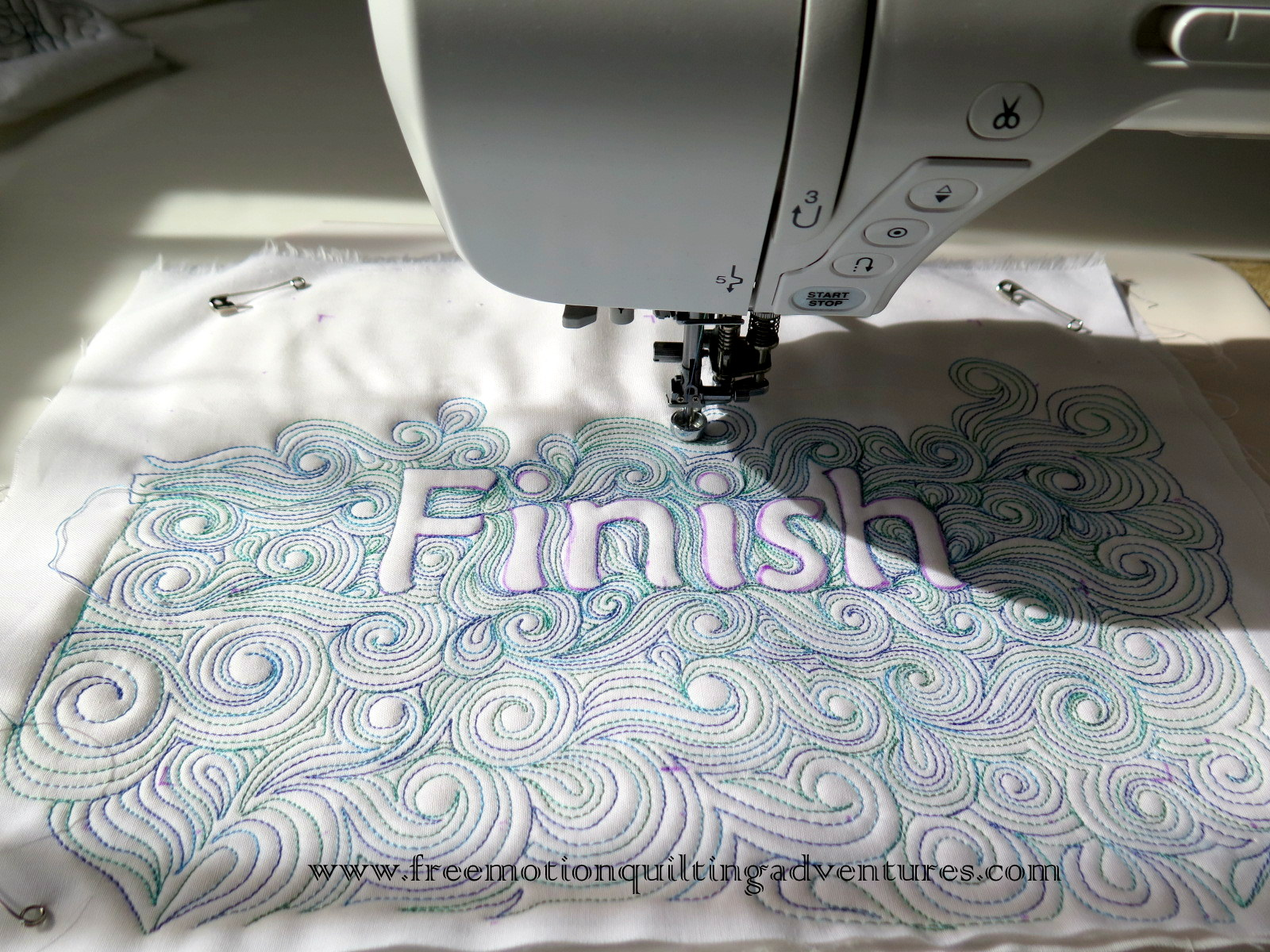 free motion quilting with text