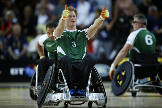 Prince Harry attends rugby game in wheelchair