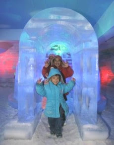 Fun in the cold: Muhammad Umair Harraz and his siblings going through the ice house.