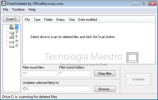 Recuperar archivos borrados con FreeUndelete
