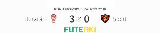 O placar de Huracán 3x0 Sport pelas oitavas de final da Copa Sul-Americana 2015