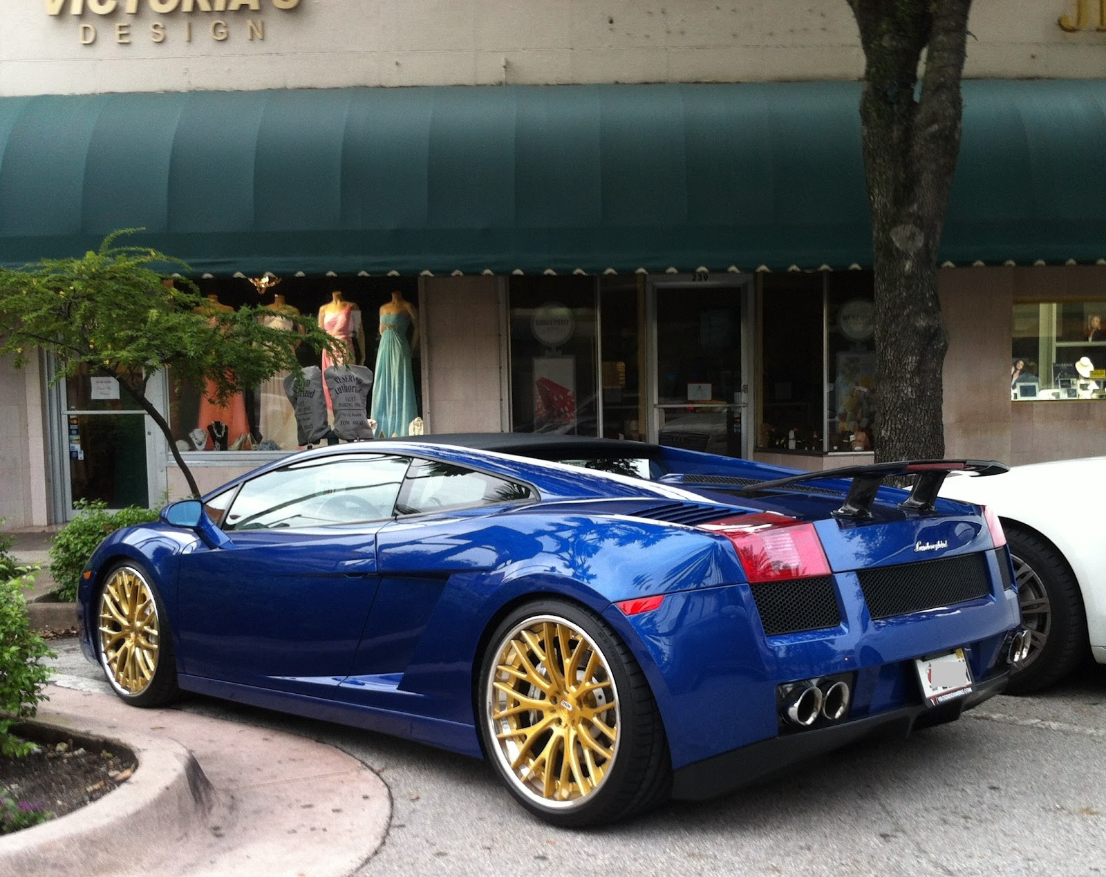Blue Lamborghini Gallardo With Gold Rims And Rear Wing