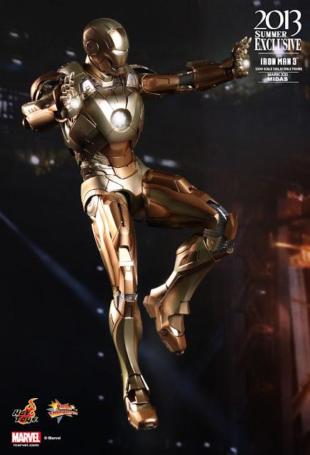 """Hot Toys Iron Man 3 1/6 Scale Mark XXI """"Midas"""" Armor 12"""" Figure"""
