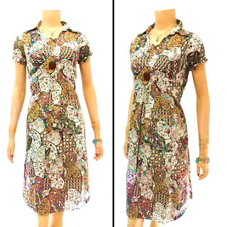 DB2896 - Mode Baju Dress Batik Modern Terbaru 2013
