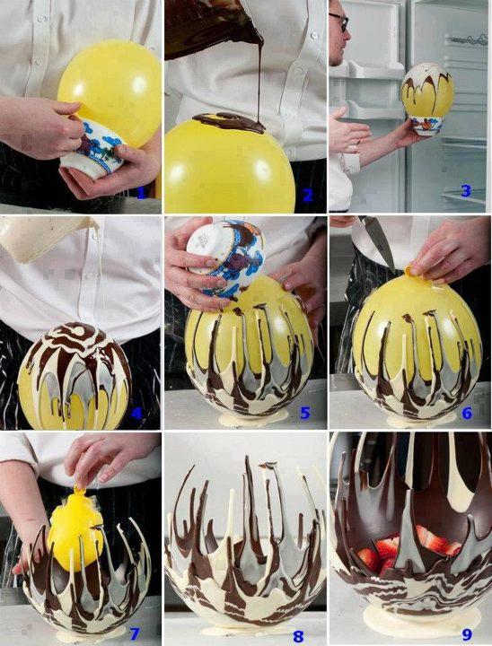 Cesta de chocolate feita com balões/bexigas de aniversário