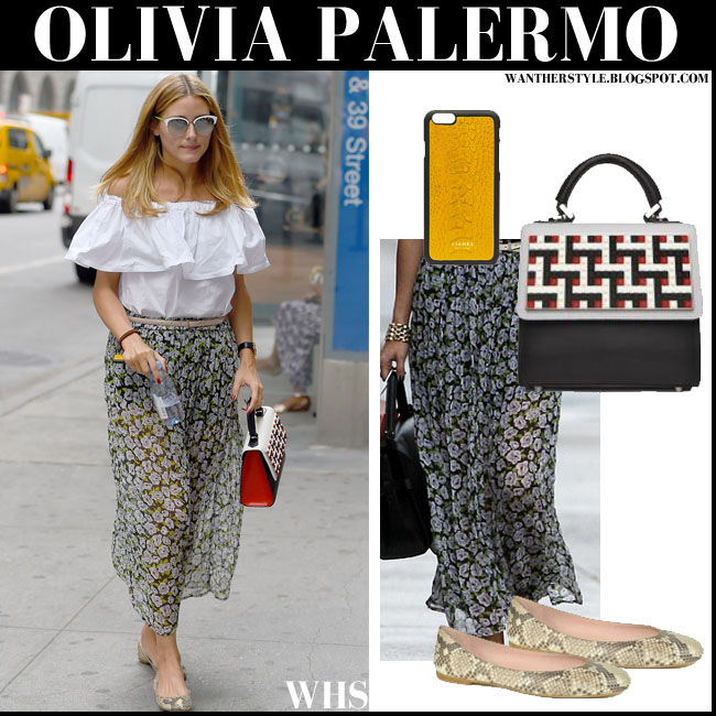 Olivia Palermo in white off shoulder top and maxi skirt and sanke skin pumps august 17