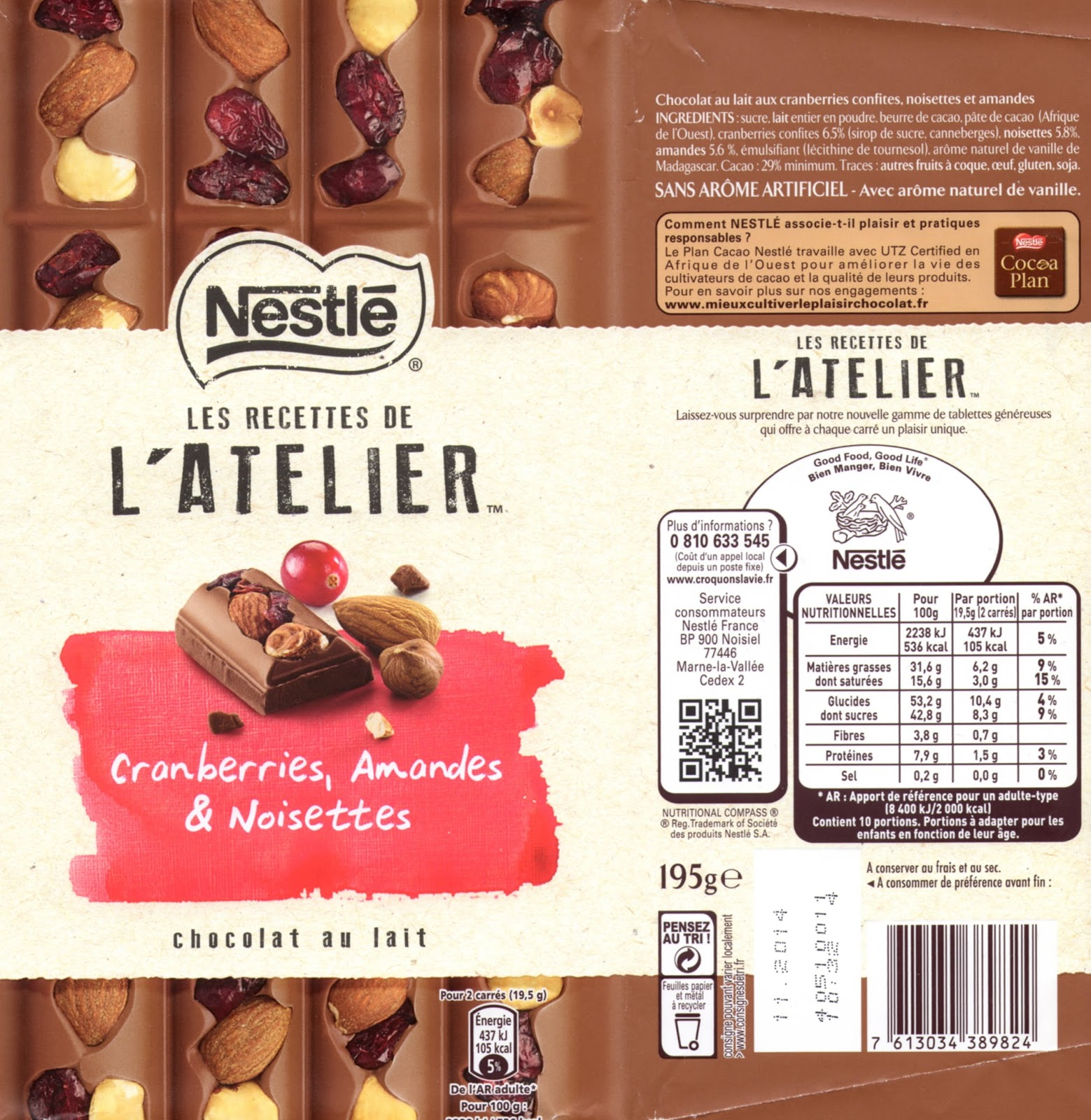 tablette de chocolat lait gourmand nestlé les recettes de l'atelier cranberries amandes & noisettes