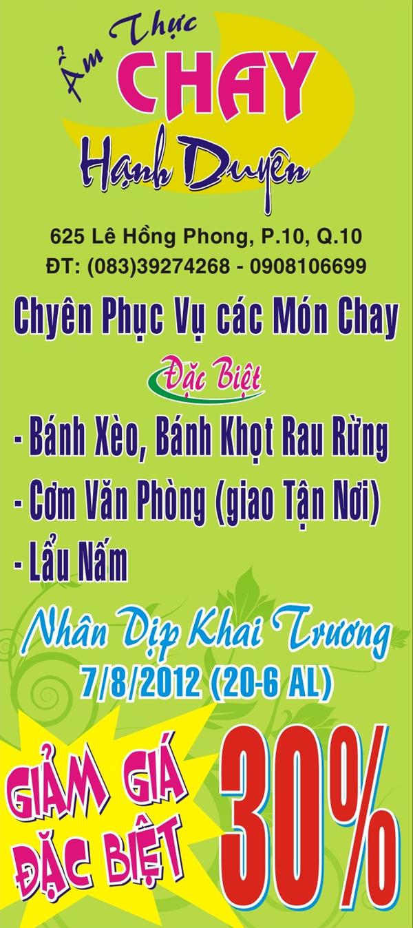 Nhà hàng Ẩm thực chay Hạnh Duyên -1000.com Giảm giá 30% nhân dịp Khai trương !!! HCMC Giamgia1