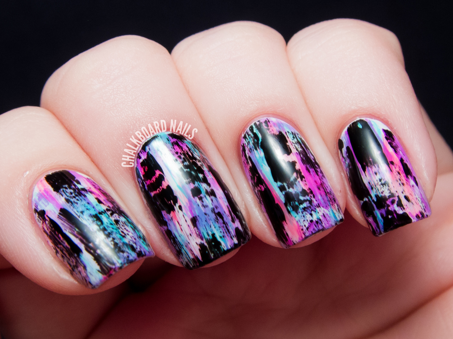 Tutorial Distressed Nail Art Punk Grungy Effect Chalkboard Nails Blog