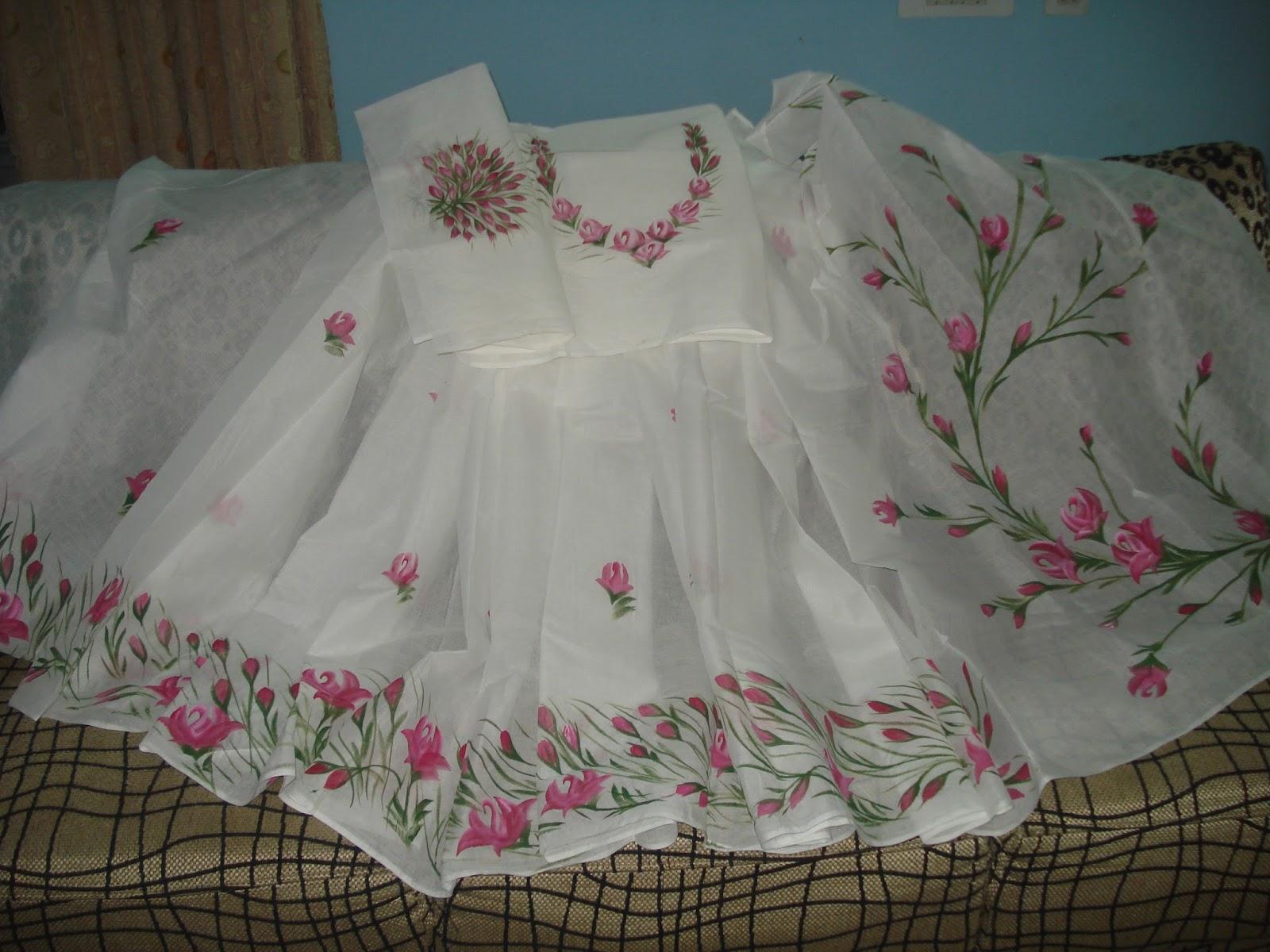 new design   fabric painting on sarees /dress/tops..... for Fabric Painting Designs On White Kurtis  585hul