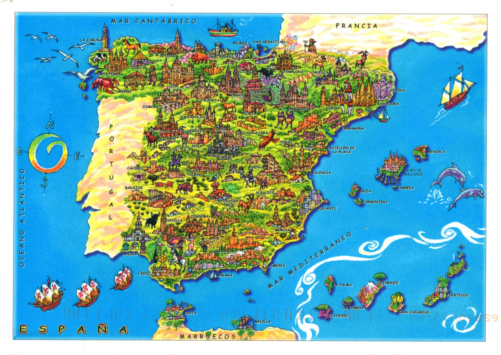 WORLD COME TO MY HOME 0057 SPAIN The map of the country