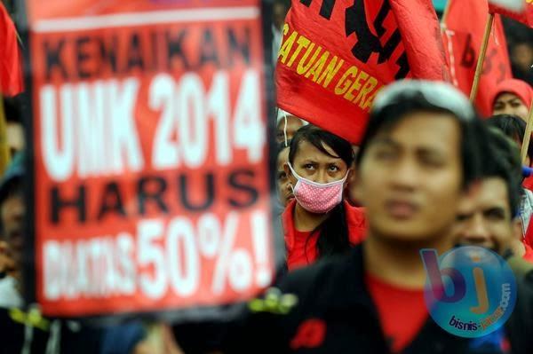 Tuntut upah nasional 2014 naik diatas 50 persen