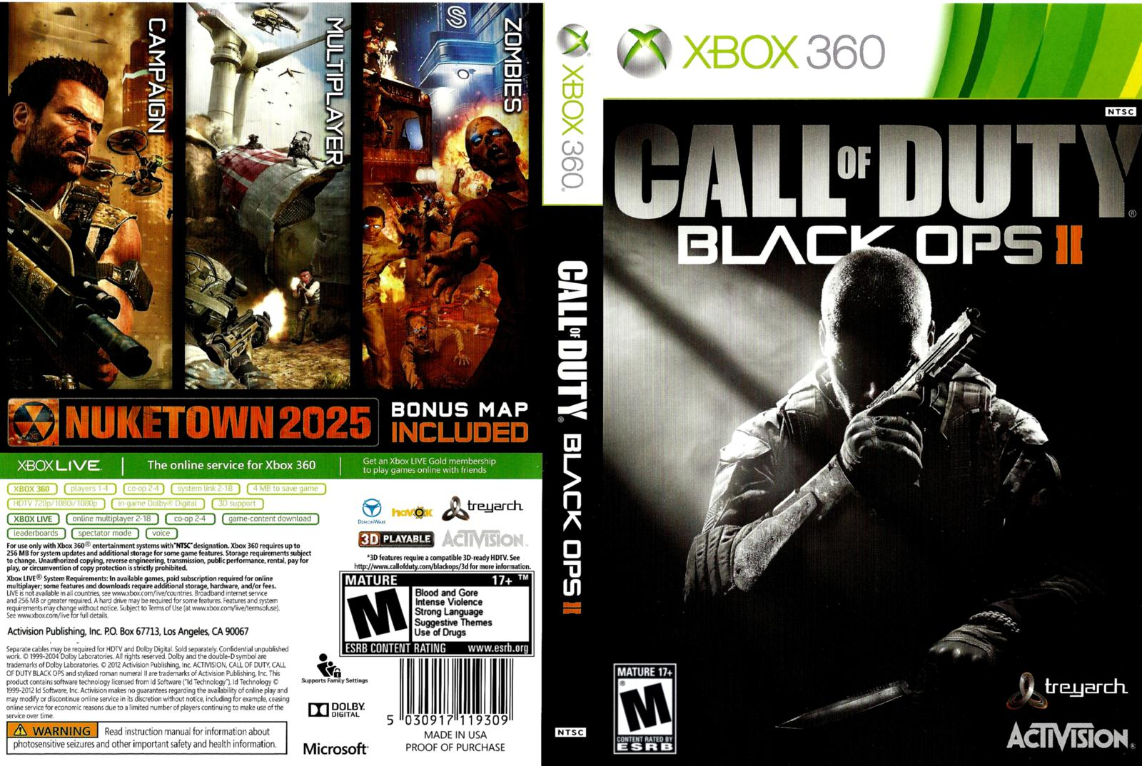 capa cover caratula xbox360 call of duty black ops 2. Black Bedroom Furniture Sets. Home Design Ideas