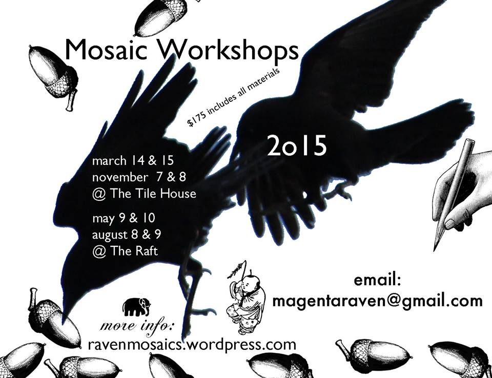mosaic workshops at the tile house and the raft - Mosaic Tile House 2015