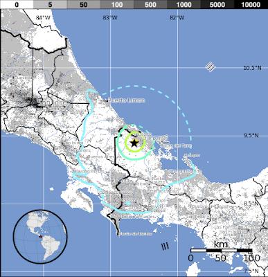 Epicentro sismo región entre Panamá y Costa Rica, 27 de Mayo 2013