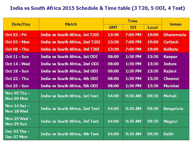 India vs South Africa 2015 Schedule & Time Table,South Africa tour of India 2015 Schedule,Ind vs. RSA 2015 series schedule,5 ODI,3 T20s,test,match details,time table,place,match place veneu,cricket,One Day International,South Africa vs. India 2015 cricket schedule,match detail,fixture,schedule,cricket 2015 schedule,Oct 02/2015 to Dec 07/2015,October series,South Africa in india,India cricket schedule,South Africa cricket schedule,GMT,ISt,Local time,places