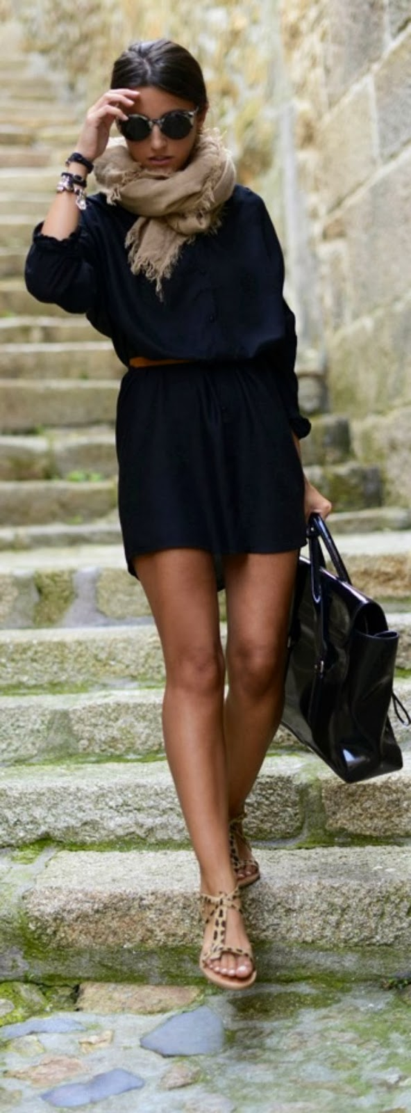 Sleeve black dress, scarf and leopard sandals fashion