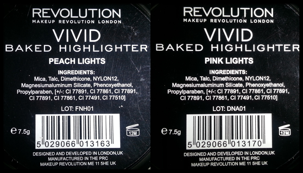 Makeup Revolution - Vivid Baked Highlighter in Peach Lights e Pink Lights - INCI