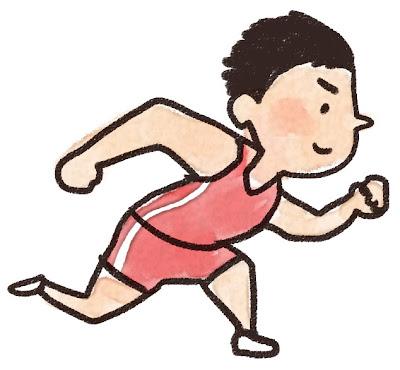 短距離走を走っている選手のイラスト