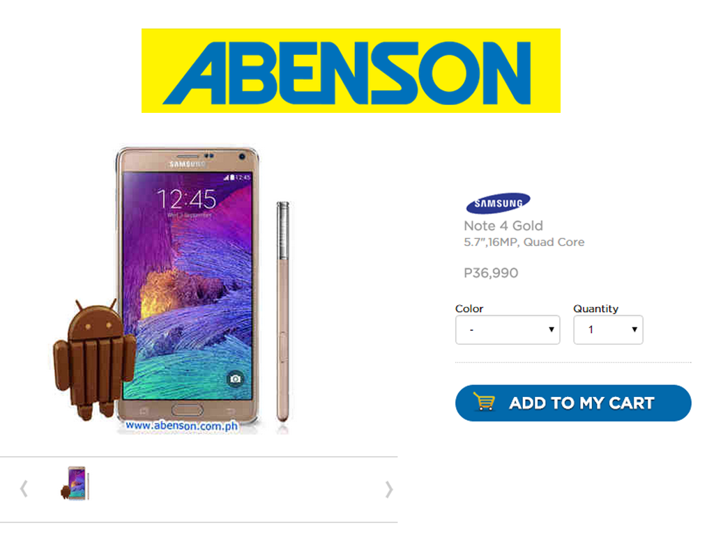 Samsung Galaxy Note 4 Now Available on Abenson for Php 36,990