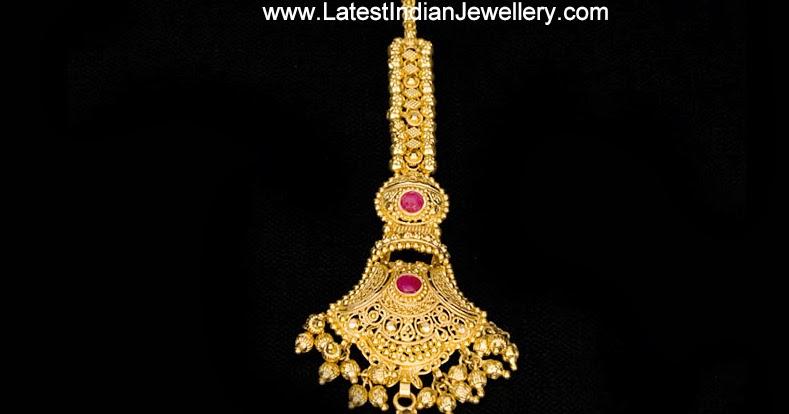 Gold Maang Tika Nethi Chuti Design