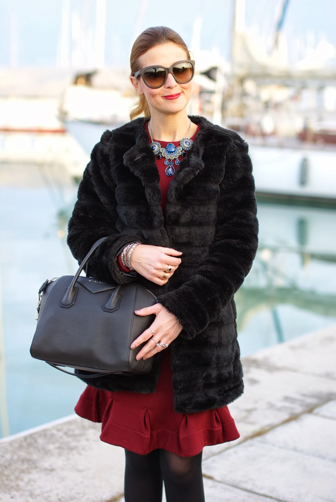 Black faux fur coat, Carven burgundy dress, Givenchy Antigona bag, Fashion and Cookies, fashion blogger