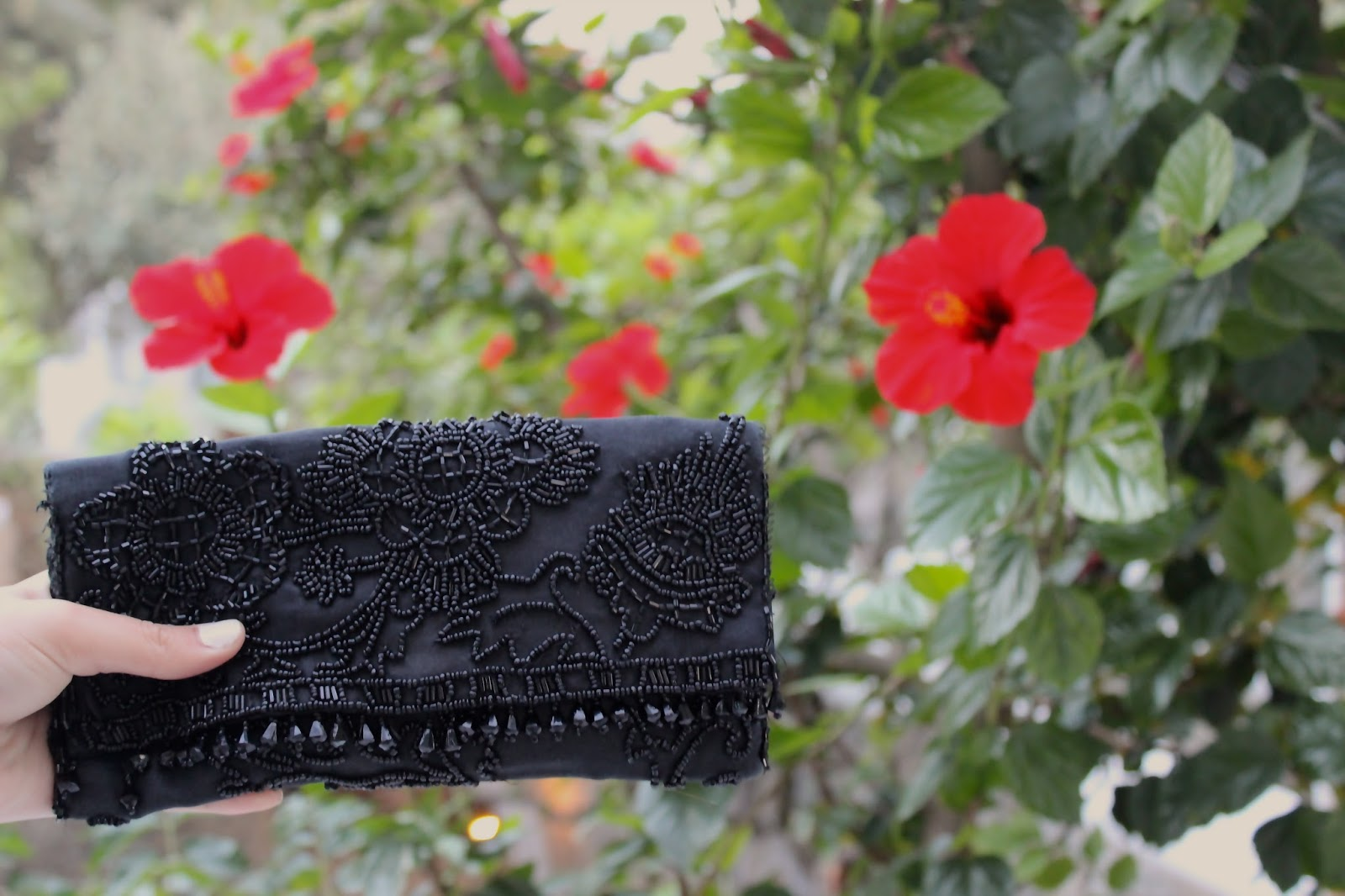 Accessorize Embellished Black Clutch - Charity shop purchase