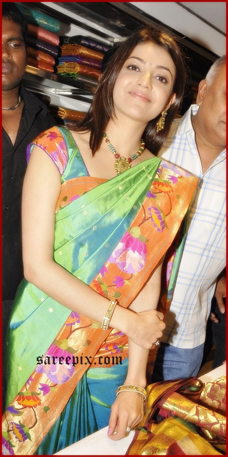 kajal latest silk saree pic