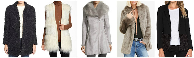 Forever 21 Shawl Collar Faux Fur Coat $56 (regular $80)  Via Spiga Faux Fur Vest $65 (regular $216)  Catherine Malandrino Faux Shearling Fit and Flare Coat $99 (regular $220)  Steve Madden Faux Fur Coat $100 (regular $150)  Lucy Paris Ruffle Feather Jacket $125