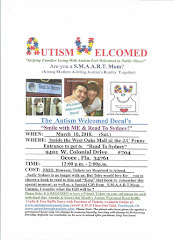 "Autism Welcomed Decal (March 10) ""Smile w/h ME & Read to Sydney"" Ocoee,FL!"