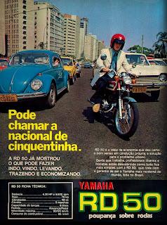propaganda moto Yamaha RD 50 - 1975; brazilian advertising cars in the 70. os anos 70. história da década de 70; Brazil in the 70s; propaganda carros anos 70; Oswaldo Hernandez;