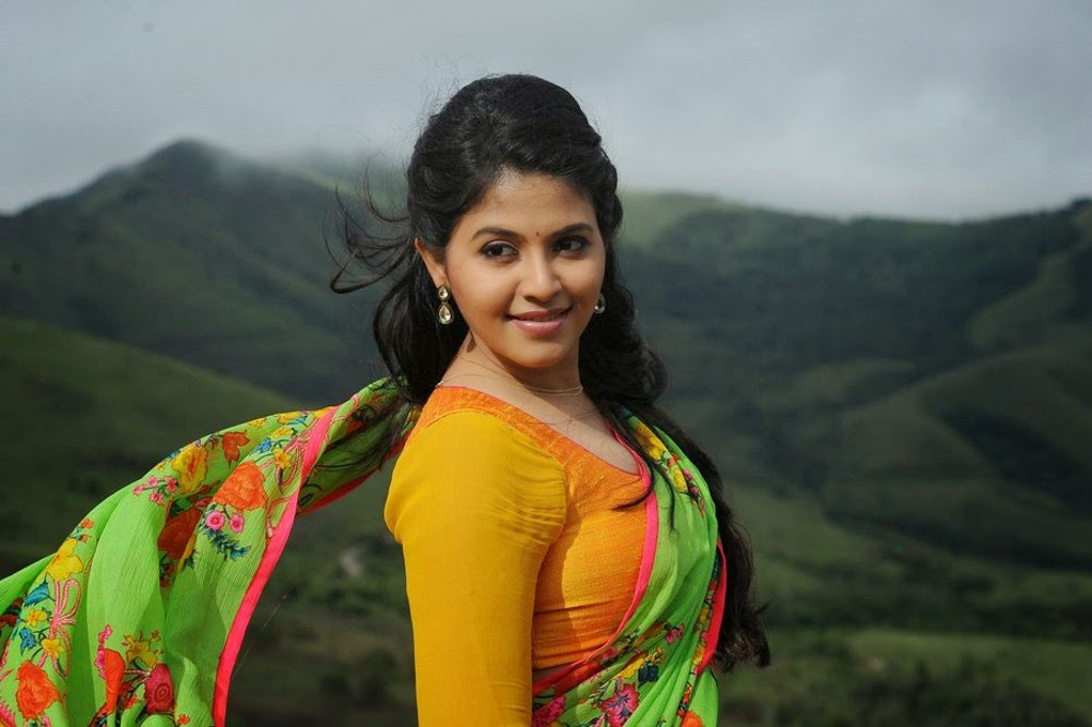 Anjali in Orange Saree with Green Pallu and Yellow Blouse Spicy Pics ...