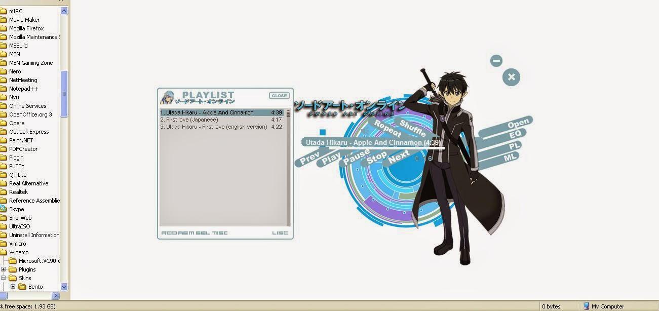 Kirito - New ALO Sword Art Online Winamp Skin