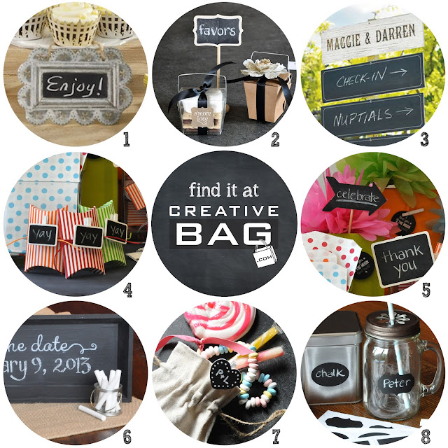 chalkboard products available at www.creativebag.com