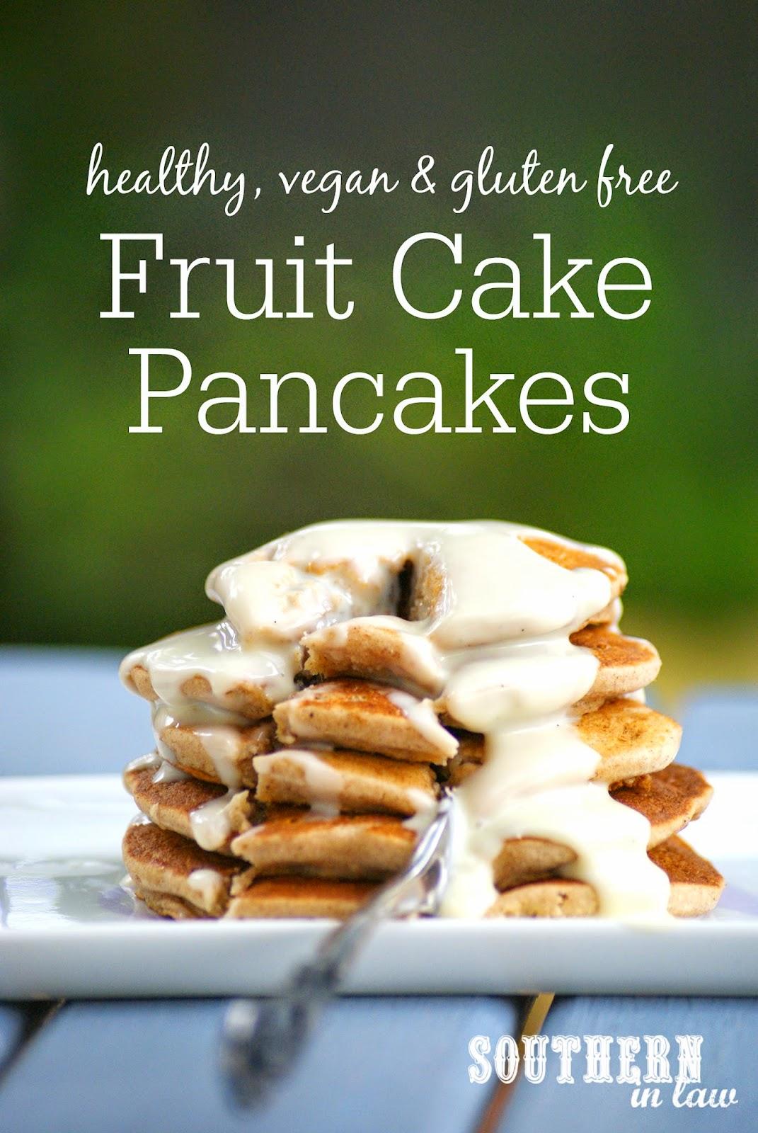 Gluten Free Fruit Cakes Pancakes Recipe for Christmas - low fat, gluten free, vegan, healthy, sugar free, dairy free, egg free