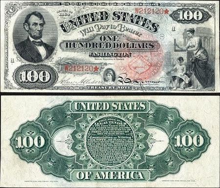 100 долларов США с Авраамом Линкольном, 1869