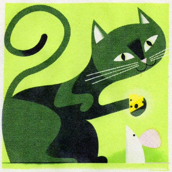 a green cat feeding cheese to a mouse illustration by Matthew Hollister