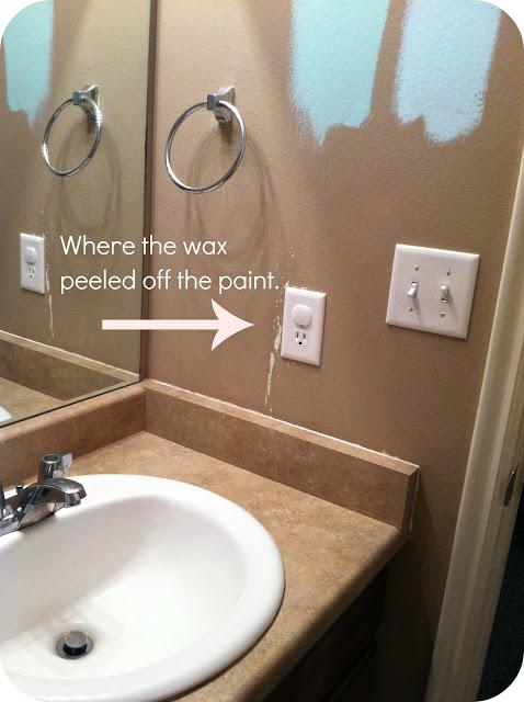 Peeling paint in bathroom