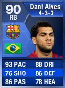 Dani Alves (TOTY) 90 (433) - FIFA 13 Ultimate Team Card