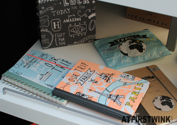HEMA travel stationery notebooks paris eiffel tower globe words Amsterdam london