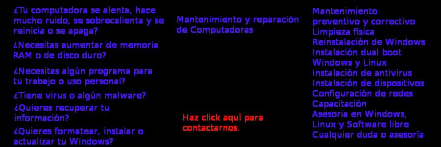 Reparación de computadoras a domicilio en Pachuca Hidalgo