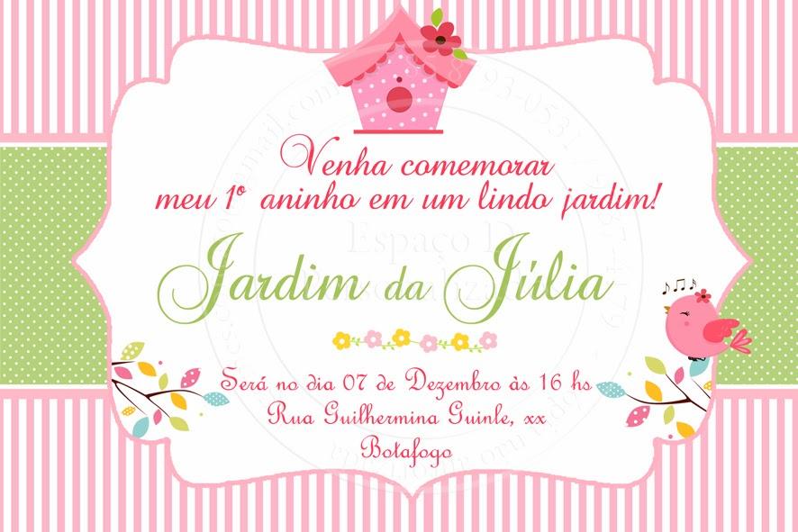 festa jardim convite : festa jardim convite:Espaço D Personalizados: Convite Tema Jardim