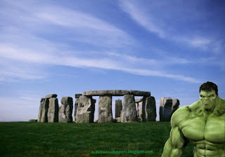 The Incredible Hulk Desktop Wallpaper. The Incredible Hulk at the corner spying you in Stonehenge Stone Monument background